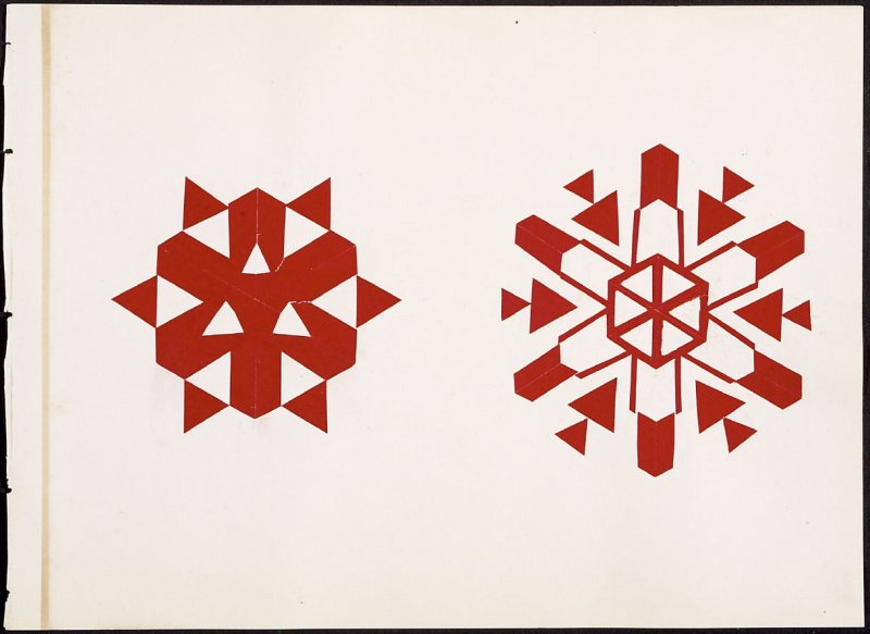 Kindergarten Album Collage: Two red snow flake designs on retro and verso
