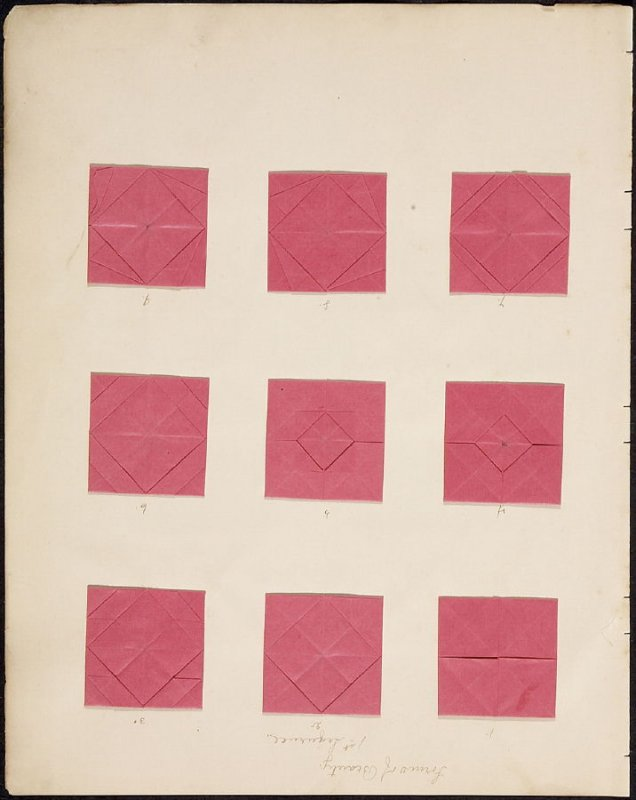 """Kindergarten Album Collage: Fifteen folded squares numbered red paper on retro and verso (""""Forms of Beauty, 1st Sequence"""" written at top of page)"""