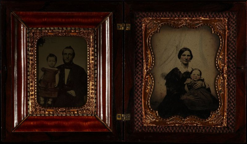 "Two ambrotype portraits one of father and child (1/4 plate); one of mother and child (1/2 plate) contained in Inlaid wood case with ""W.A.B. 1858"" on front"