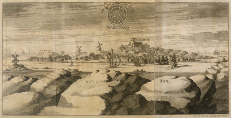 View of Marstrand, from Suecia Antiqua et Hodierna (Ancient and Modern Sweden)