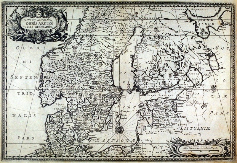 Map of Norway, Sweden, Finland, from Suecia Antiqua et Hodierna (Ancient and Modern Sweden)
