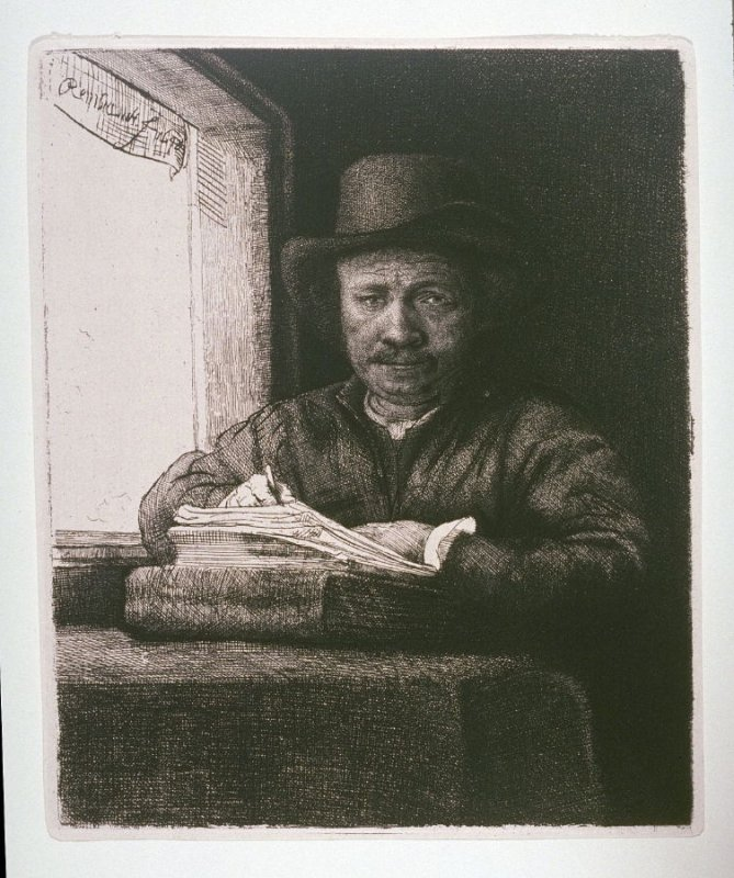 Self-Portrait Drawing at a Window