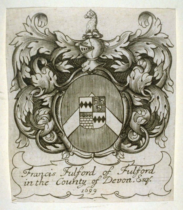 Bookplate for Francis Fulford of Fulford in the County of Devon 1699