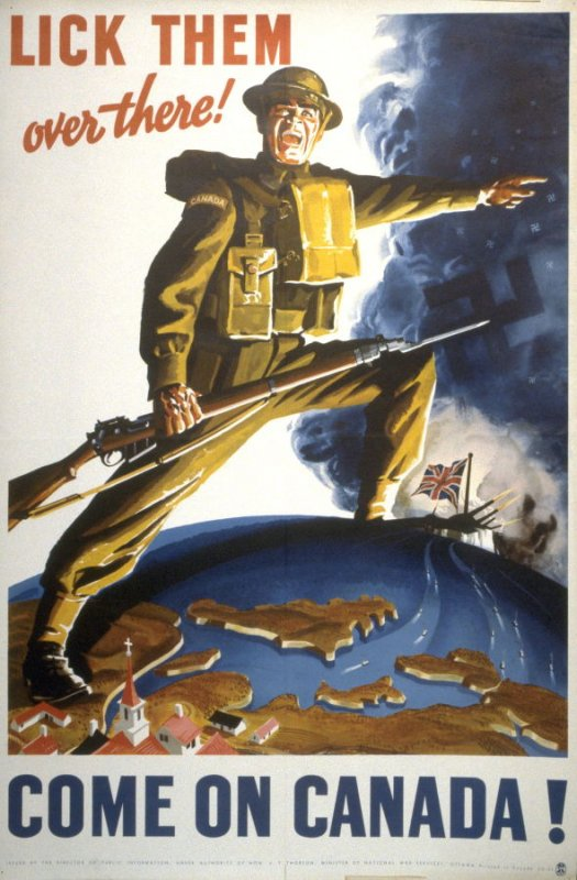 Lick Them Over There!  Come On Canada! - World War II Poster