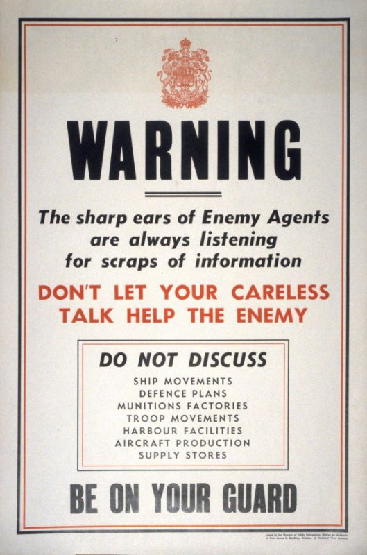 Warning / The Sharp Ears of Enemy Agents Are Always Listening - World War II Poster