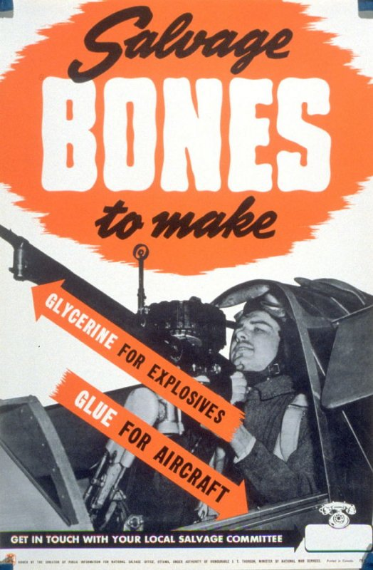 Salvage Bones To Make /Glycerine For Explosives/ Glue For Aircraft - World War II Poster