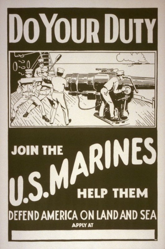 Do Your Duty, Join the U.S. Marines help them defend America on land and sea - World War I poster