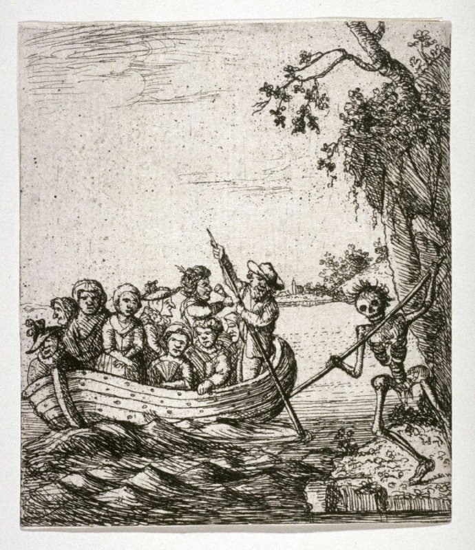 [Group of people in a boat being prodded by death]