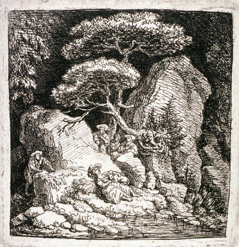 [Landscape with people gathered among the rocks]