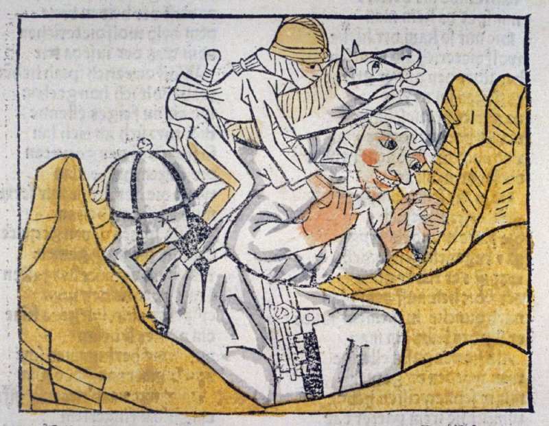 The Huge Woman Carries Wolfdetereich and His Horse over the Mountain, from Das Heldenbuch (Strasbourg: Johann Prüss, 1479)