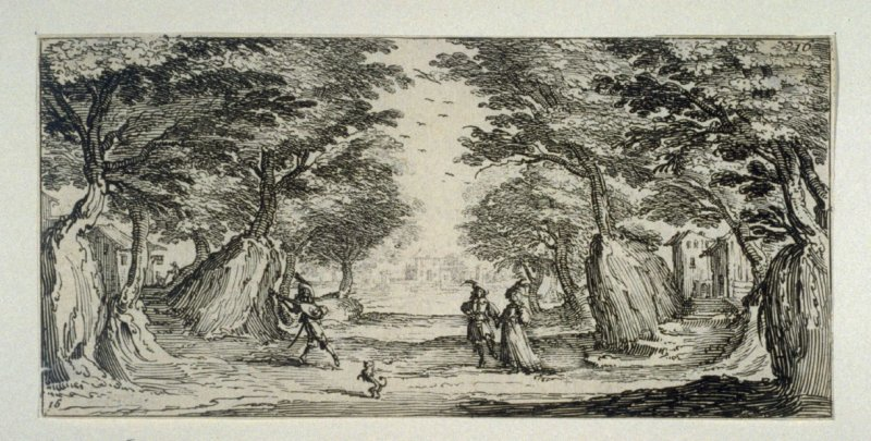 Wooded scene with man playing lute to a couple
