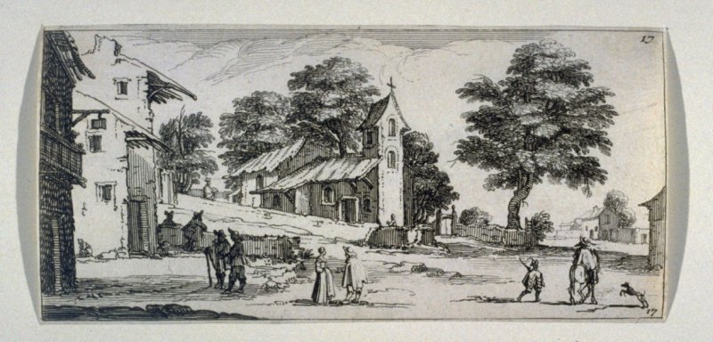 Scene with a church and figures in the foreground