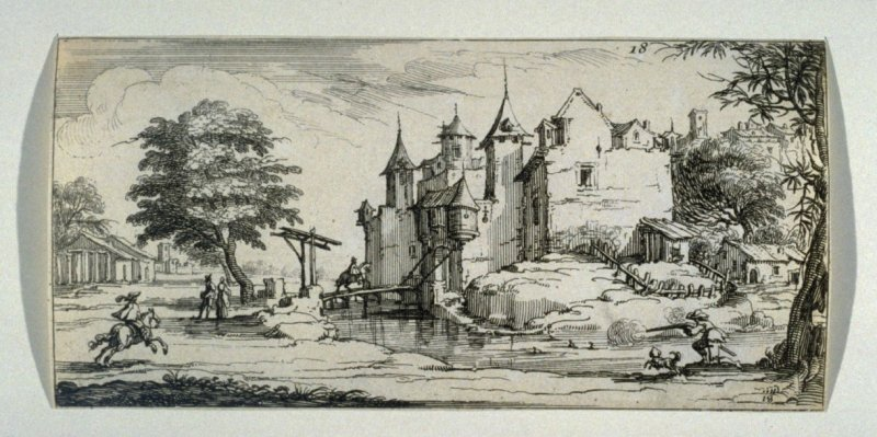 Landscape with man shooting ducks.
