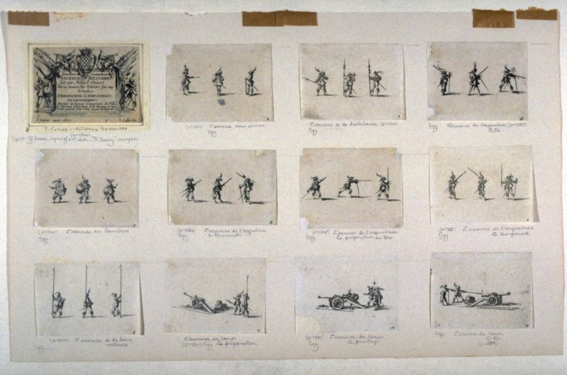 Set of twelve scenes depicting military exercises