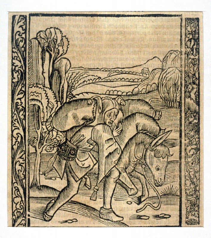 "The Fork Fool: woodcut illustration for the original edition of the ""Narrenschiff"" (Ship of Fools), taken from the Latin reprint edition Basel"