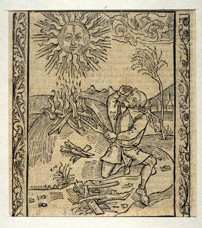 """Blasphemous Fool: woodcut illustration for the original edition of the """"Narrenschiff"""" (Ship of Fools), taken from the Latin reprint edition Basel"""