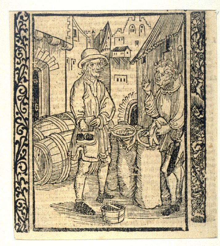 """The Usurer Fools: woodcut illustration for the original edition of the """"Narrenschiff"""" (Ship of Fools), taken from the Latin reprint edition Basel"""