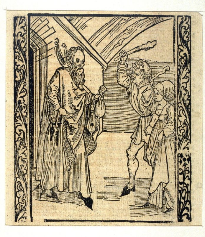 """Children Fools: woodcut illustration for the original edition of the """"Narrenschiff"""" (Ship of Fools), taken from the Latin reprint edition Basel"""