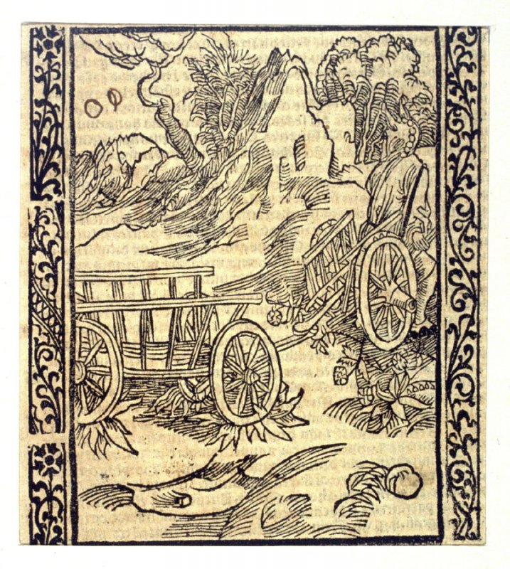 "Broken Carriage Fools: woodcut illustration for the original edition of the ""Narrenschiff"" (Ship of Fools), taken from the Latin reprint edition Basel"