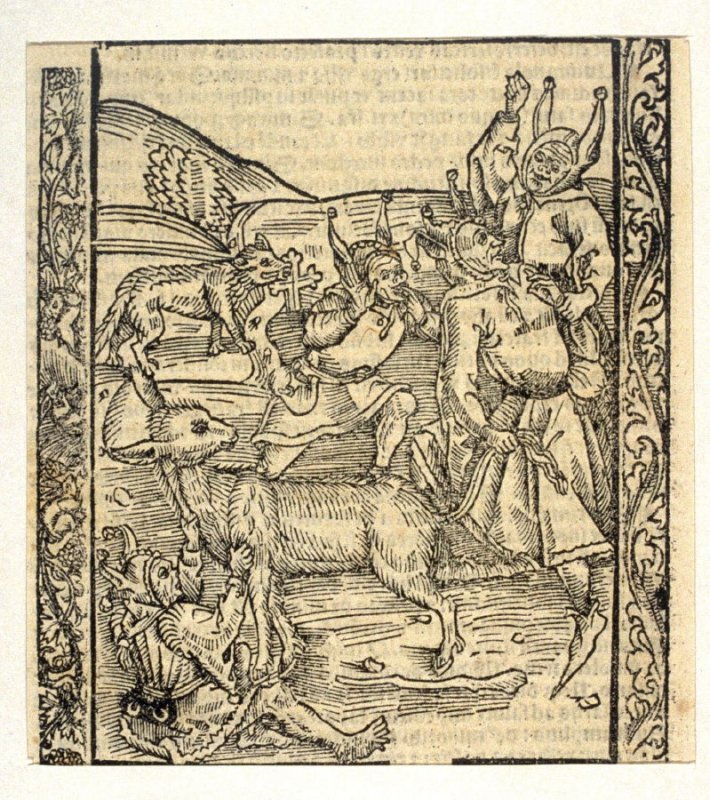 """Borrowing Fools: woodcut illustration for the original edition of the """"Narrenschiff"""" (Ship of Fools), taken from the Latin reprint edition Basel"""