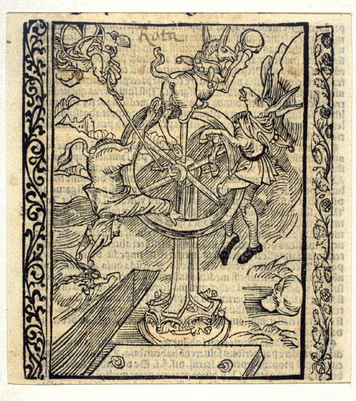 """Wheel of Fortune: woodcut illustration for the original edition of the """"Narrenschiff"""" (Ship of Fools), taken from the Latin reprint edition Basel"""