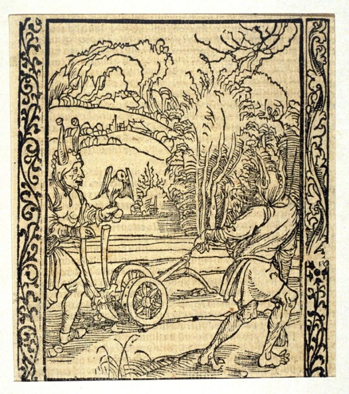 """The Plough Fool: woodcut illustration for the original edition of the """"Narrenschiff"""" (Ship of Fools), taken from the Latin reprint edition Basel"""