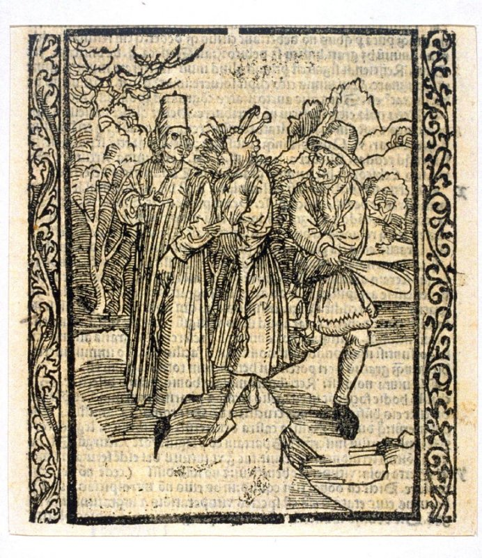 """The Ingrate Fool: woodcut illustration for the original edition of the """"Narrenschiff"""" (Ship of Fools), taken from the Latin reprint edition Basel"""