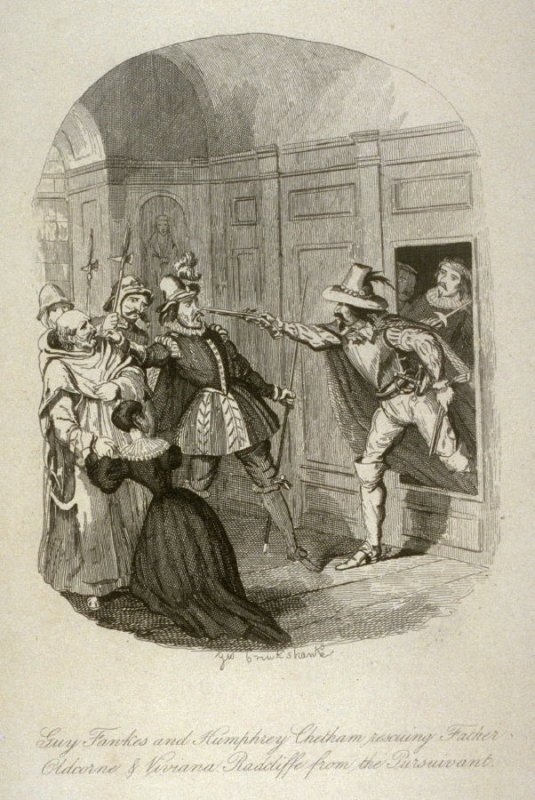 """Frontispiece to the 1841 first edition of """"Guy Fawkes"""""""