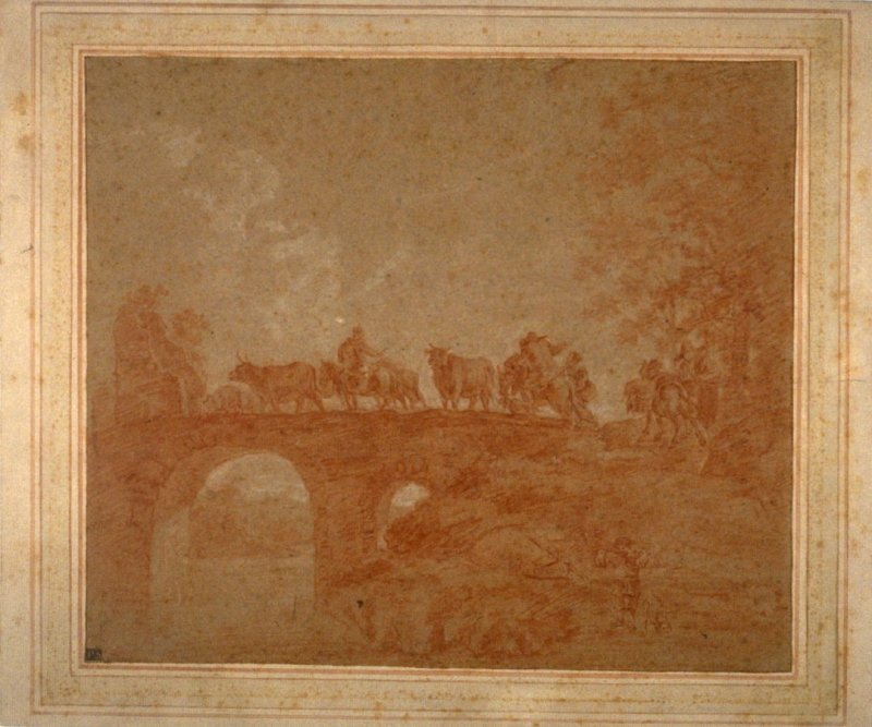 Landscape with Herders and Cattle Crossing a Bridge