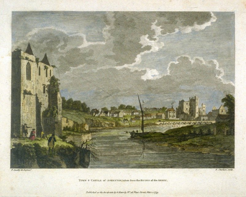 Town and Castle of Askeyton, taken from the Ruins of the Abbey
