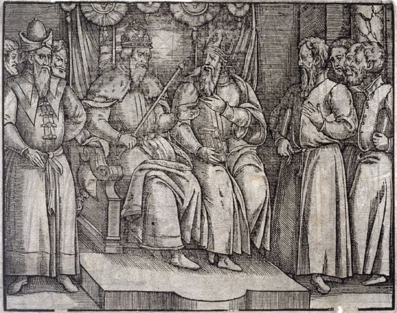 Recto:Two Kings seated on thrones; Verso: Two Kings Greeting eachother