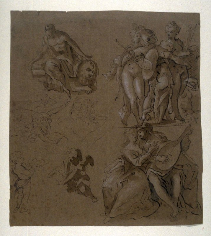 Sheet of studies: St. Jerome, allegory of painting, lovers, angels, putti