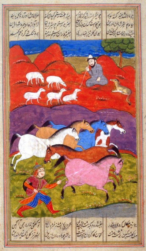 Rustem Catching Raksh, a page from a manuscript of the Shah Namah