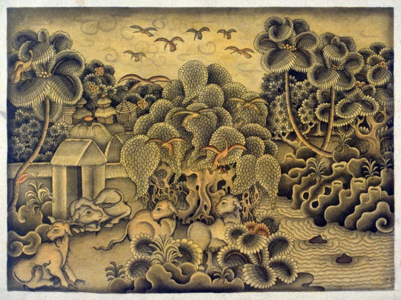 Untitled (animals and birds outside a village)