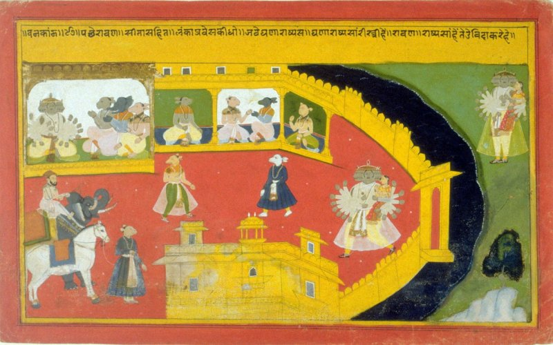 The Demon Ravana is in his Stronghold in the City of Lanka, a page from a mansucript of the Ramayana