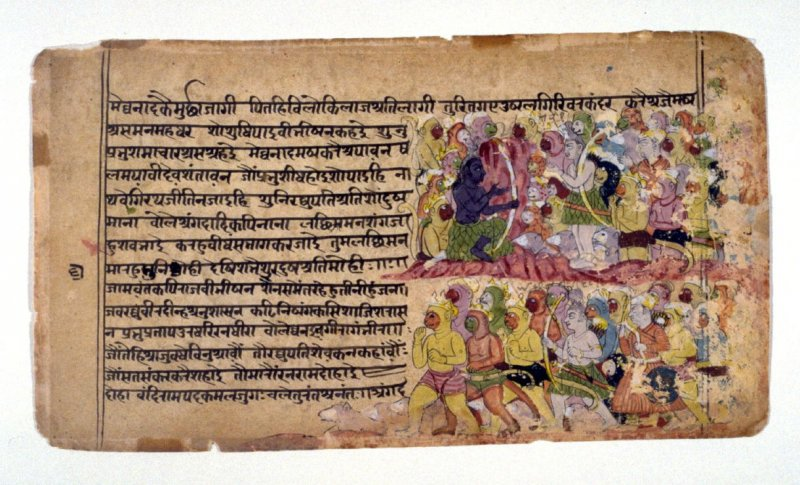 Rama and Balarama with Their Monkey and Bear Allies, a page from a manuscript of the Ramayana