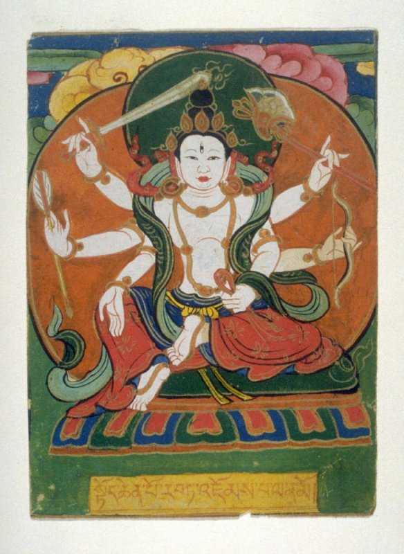 Male Deity [to be identified further]( Six-armed deity), image for a card of empowerment in a Tibetan ceremony