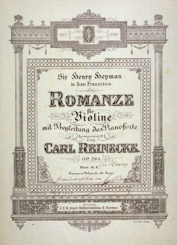 Romance for Violin composed by Carl Reinecke - folio of printed sheet music