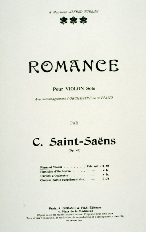 Romance for Violin composed by Saint-Saëns