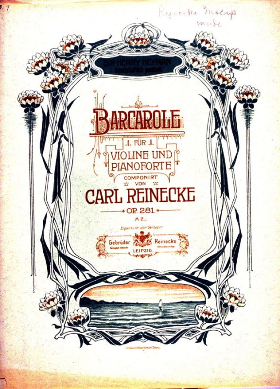 Barcarole for Violin and Piano composed by Carl Reinecke
