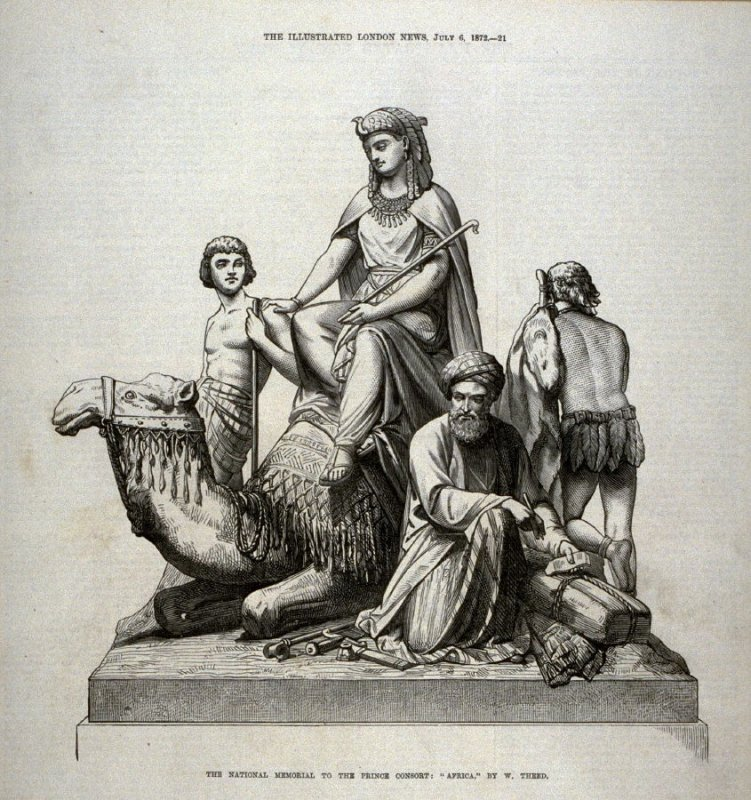 "The National Memorial to the Prince Consort: ""Africa"" - p.21 The Illustrated London News, 6 July 1872"