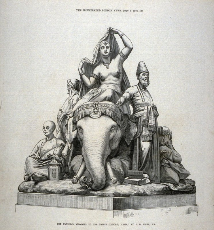 """The National Memorial to the Prince Consort: """"Asia"""" - p.20 The Illustrated London News, 6 July 1872"""