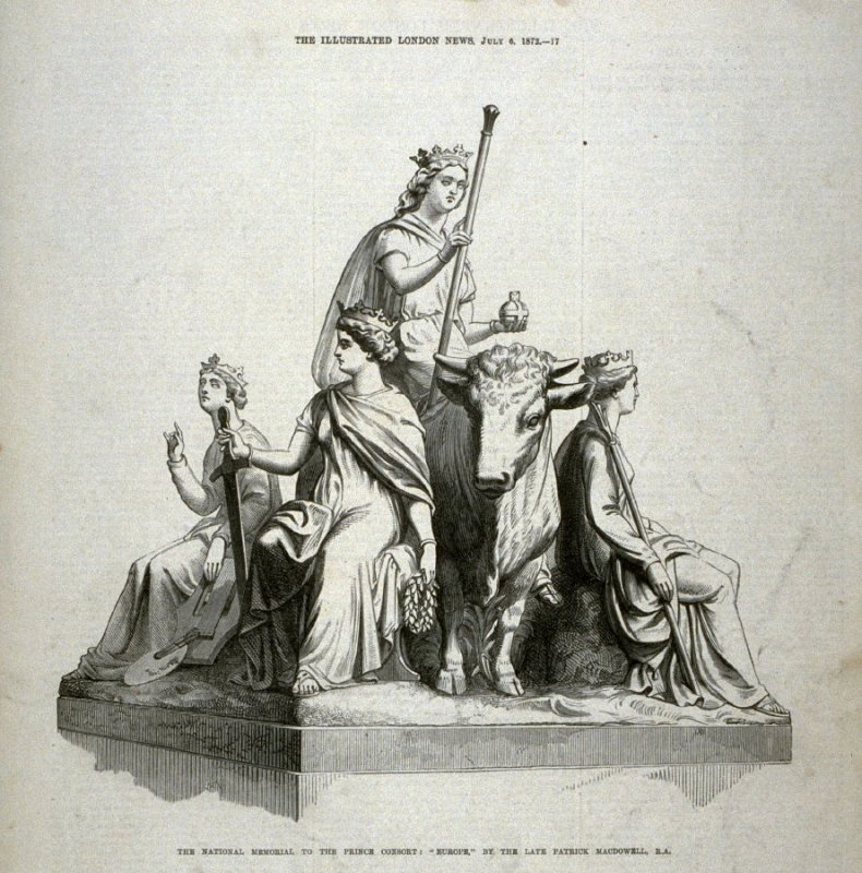 """The National Memorial to the Prince Consort: """"Europe"""" - p.17 The Illustrated London News, 6 July 1872"""