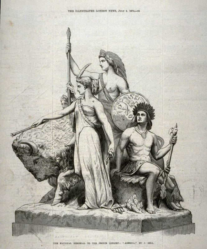 """The National Memorial to the Prince Consort: """"America"""" - p.24 The Illustrated London News, 6 July 1872"""