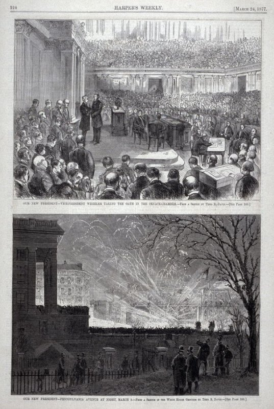 """Two images from """"our New President"""" series, from Harper's Weekly (March 24, 1877), p. 224."""