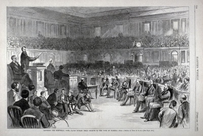 Counting the Electoral Vote, David Dudley Field Objects to the Vote in Florida from Harper's Weekly, (February 17. 1877), p. 124