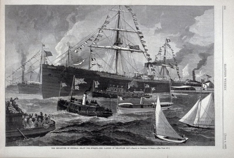 """""""The departure of General Grant for Europe - the Parting in Delaware Bay"""" from Harper's Weekly,  (June 2, 1877), p. 424"""