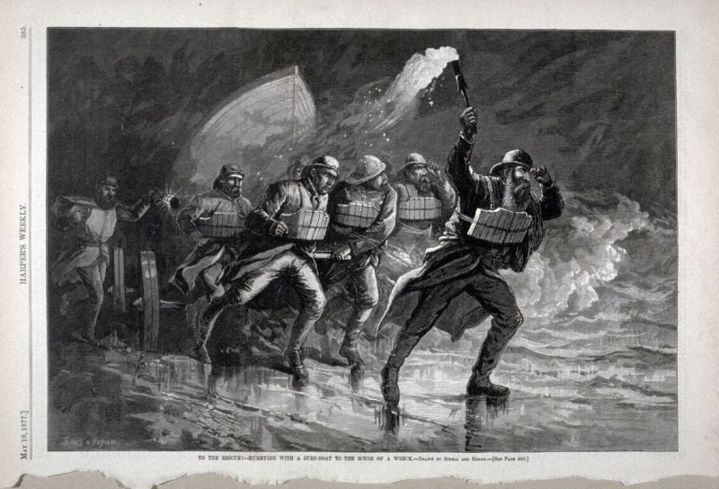 """To the Rescue- Hurrying with a surf boat to the scene of a wreck"""" from Harper's Weekly,  (May 19, 1877), p. 385"""