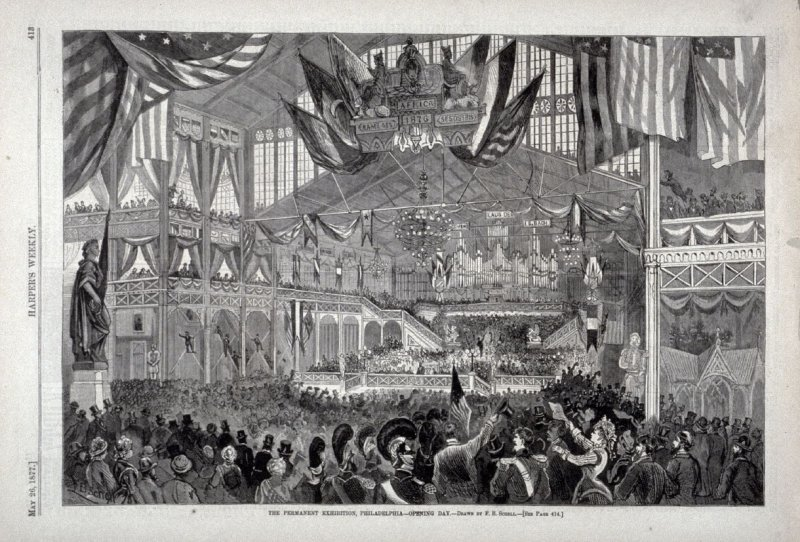 The Permanent Exhibition, Philadelphia - opening Day, from Harper's Weekly, (May 26, 1877), p. 413