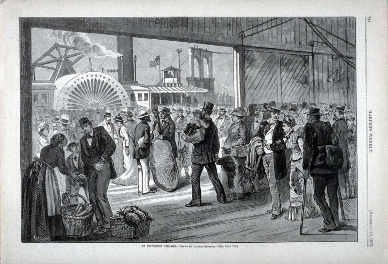An Excursion Steamer - from Harper's Weekly, (September 15. 1877), p. 728